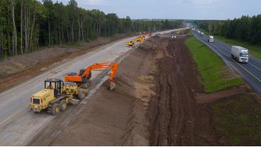 Строительство нового участка автодороги